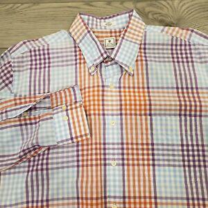 Peter-Millar-Men-039-s-Shirt-Size-Large-Button-Front-Purple-Orange-Blue-Plaid