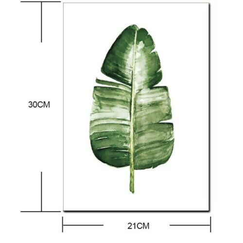 Wall Art Unframed Green Plants Oil Paintings With Tropical Leaves Wall Pictures