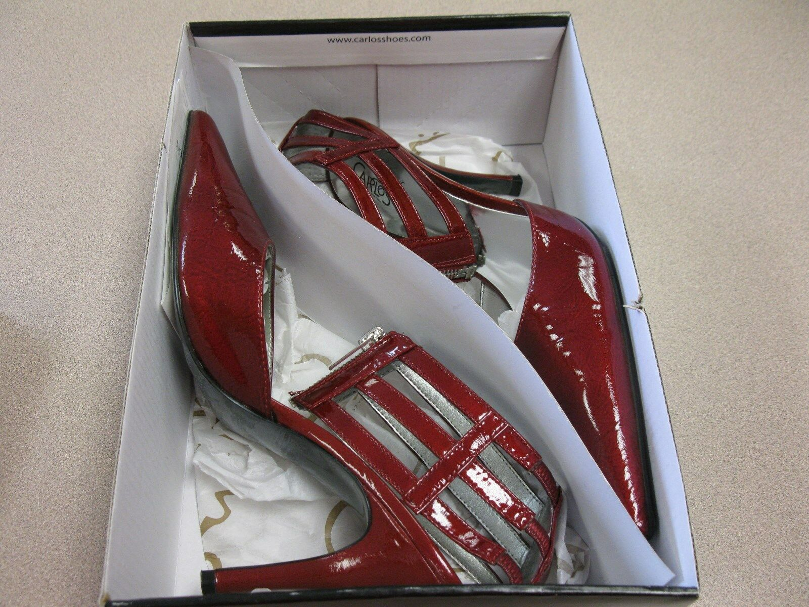 Donna CARLOS SANTANA CONVERT RED SHOES ZIPPER SEXY SHOES RED HEELS 2a8f19