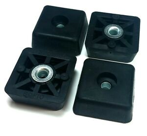 Square Screw-On Cabinet Feet Rubber Recessed Bumpers 0.522 x 1.375 ...