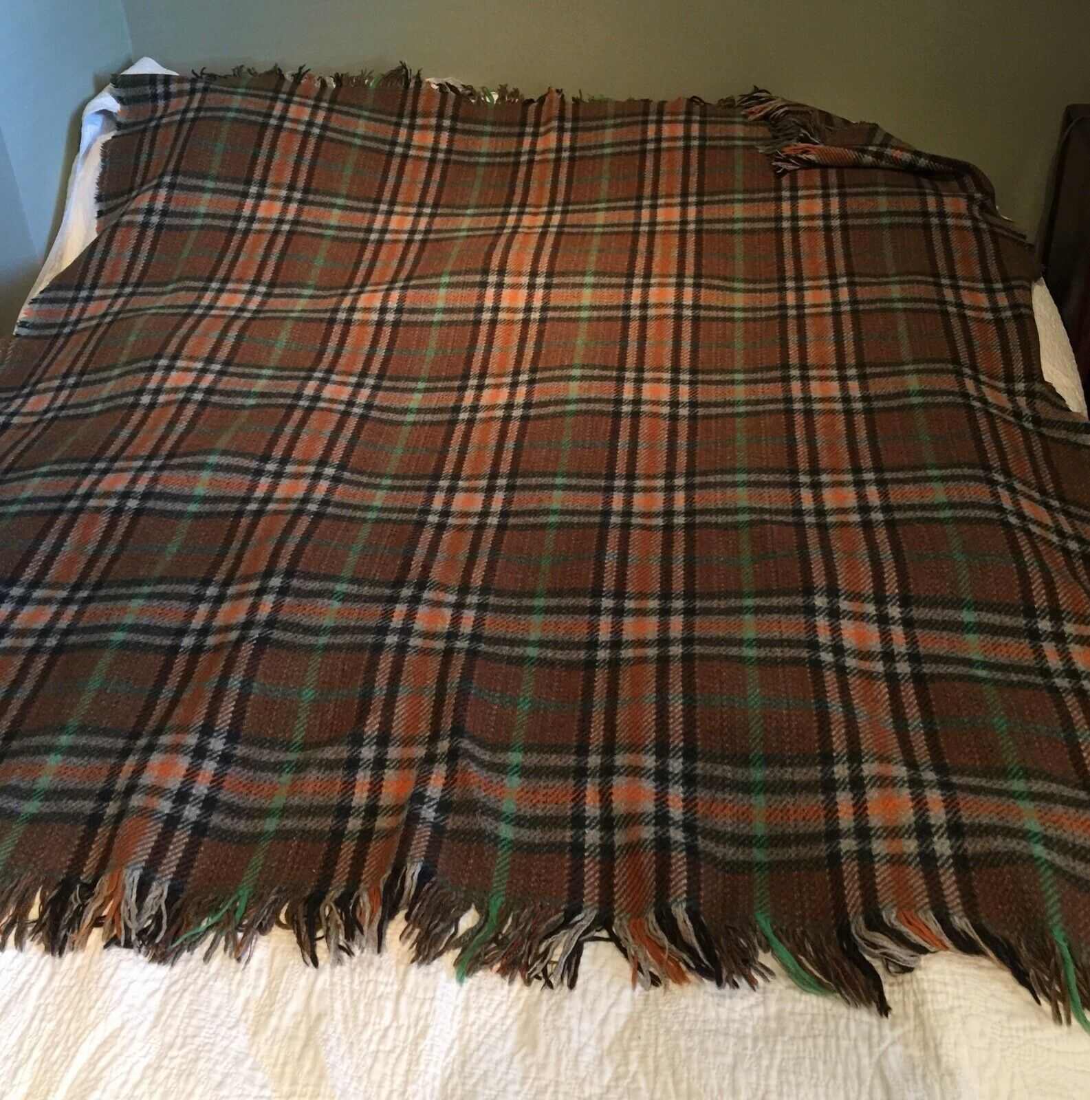 Vintage Plaid Laine Plaid Couverture Wrap 54  X 64  Marron Vert Orange Beige