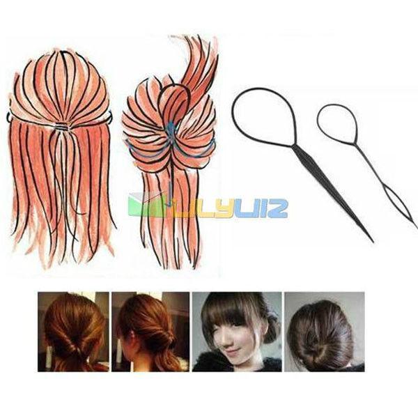 Plastic Magic Topsy Tail Hair Braid Ponytail Styling Maker Clip Tool Black 2pcs
