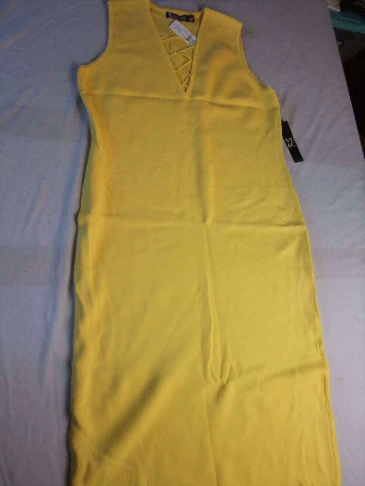 NY & Company 7th Avenue Women's Yellow Sweater Dress Size Large Petite--NWT