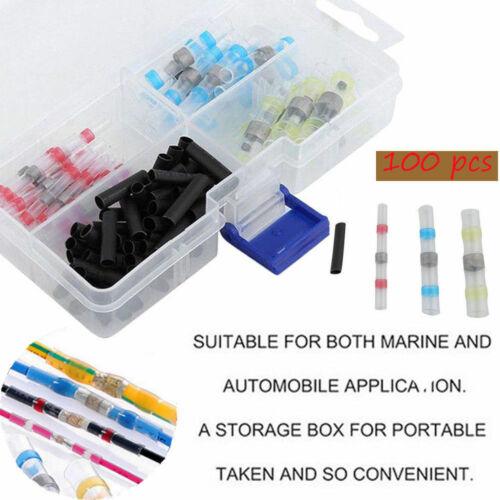 Waterproof 100PCS Solder Sleeve Heat Shrink Butt AWG 10-26 Wire Splice Connector