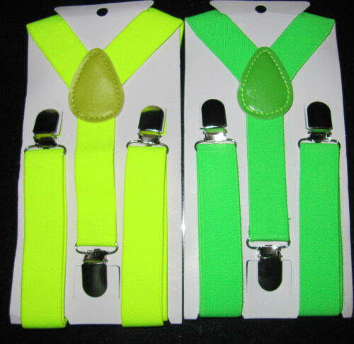 Boys Girls Braces Bright Yellow Green childrens adjustabe canvas 1-6 years kids