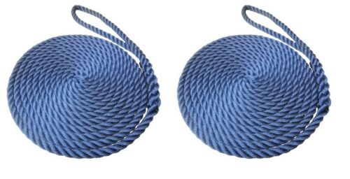 2 x 10 MTS OF 16MM NAVY BLUE SOFTLINE MOORING ROPES / WARPS / LINES BOATS