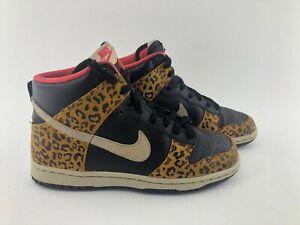 Nike-Dunk-High-Skinny-Womens-Size-6-Leopard-Black-Yellow-429984-011-Skate