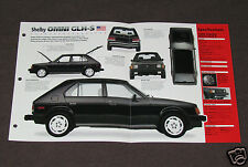 1986 SHELBY OMNI GLH-S Dodge Car SPEC SHEET BROCHURE PHOTO BOOKLET