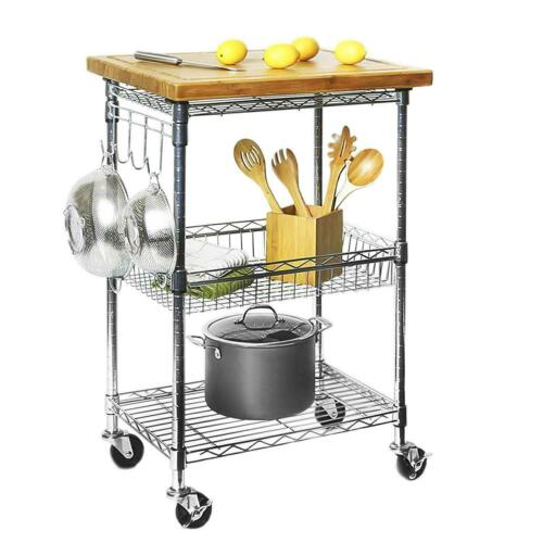 PREP TABLE KITCHEN ISLAND//UTILITY CART with REMOVEABLE CUTTING BOARD TOP