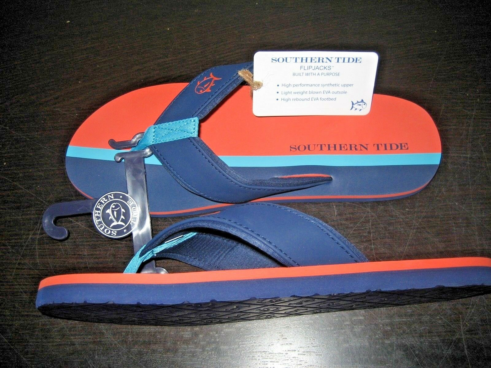 eb705fcf9dfc ... Southern Tide Mens Surfside Flipjacks Sandals Island Orange       Blue  NWT Free Ship c71cbb ...