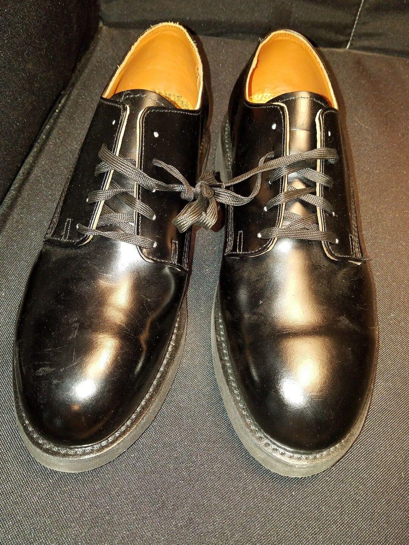 Nwob - uomini 12ee - carolina comandante acciaio la pelle pelle pelle nera oxfords scarpe da lavoro 969429