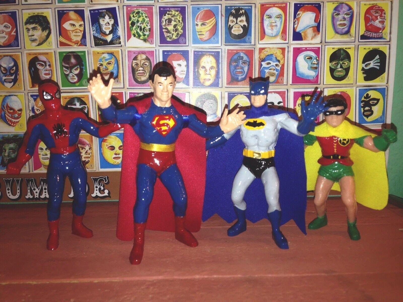 Superman, Spiderman, Batman & Robin Bootleg Figures 4 Inches, Lot Of 4