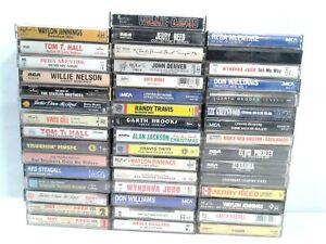 Lot-of-46-Country-Music-Cassette-Tapes-Brooks-Jennings-Nelson-Reed-Denver-Travis