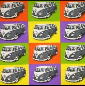 """CAMPING CAMPER VAN PHYCHEDELIC cotton canvas 54/"""" fabric //PER METRE// TOURERS"""