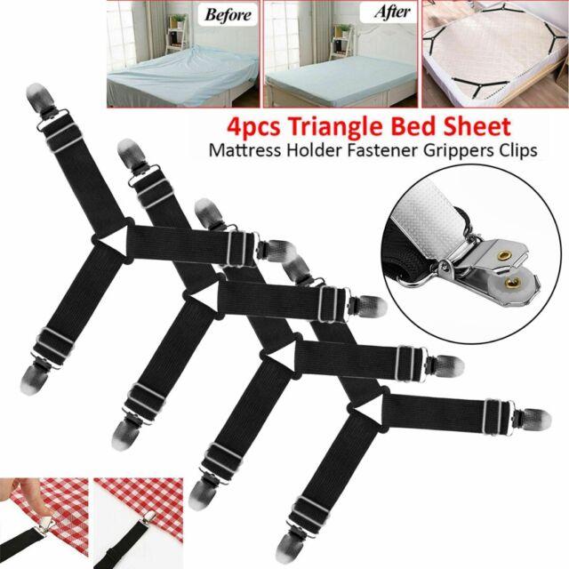 1//4x Bed Suspender Straps Mattress Fastener Holder Triangle Grippers Sheet Clips