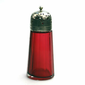 Victorian Cranberry Glass and Silver Plate Muffineer Sugar Caster  Sifter