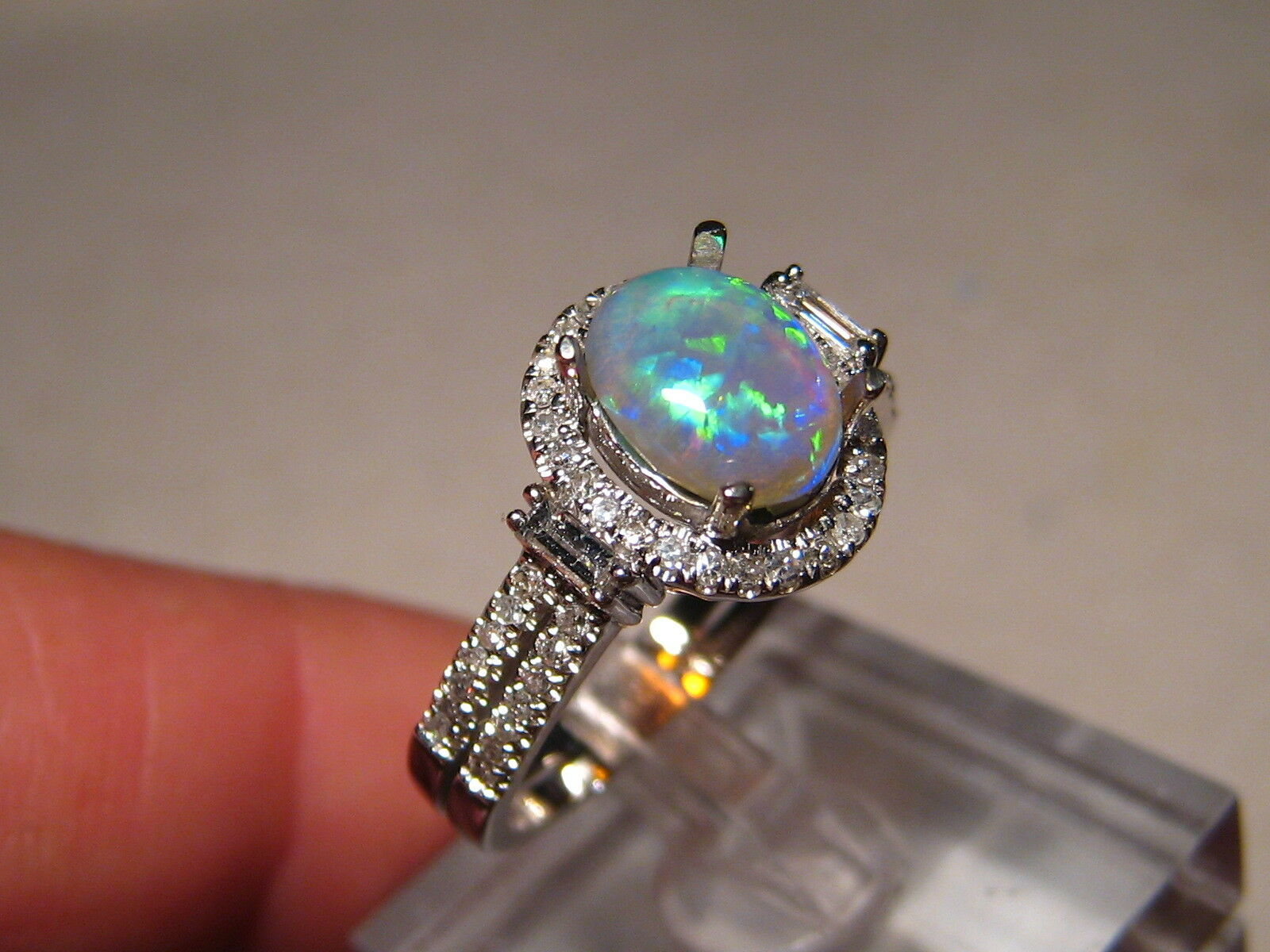Opal Diamond Ring 14k White gold FREE RE SIZE and shipping