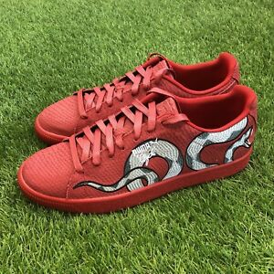 e0983efb9462 New Puma Clyde Snake Size 11 Embroidery Pack Red Skin Gold Aglet ...