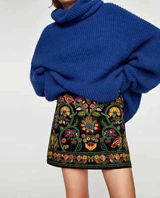 Analytical So Cute Women's Clothing Zara Cotton Embroidered Mini Skirt-ref 1381/240-black-size M-nwt Complete In Specifications