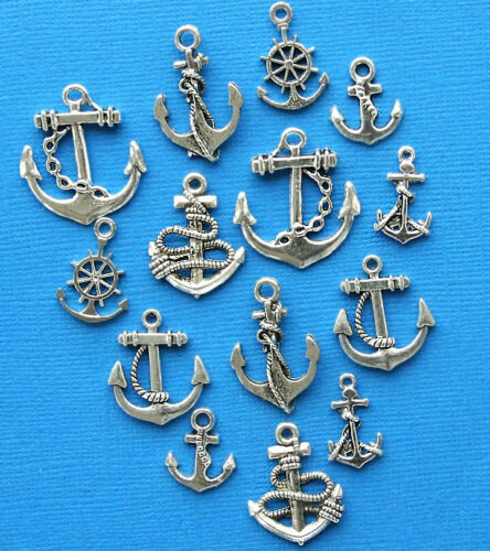 Anchor Charm Collection Antique Silver Tone 14 Charms COL276