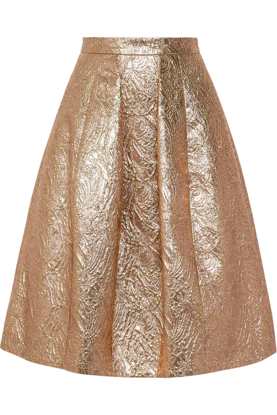 1790 New Oscar De La Renta BAROQUE JACQUARD LAME pink gold Brocade Skirt 0 2 4