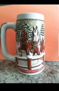 Vintage-Budweiser-Christmas-Holiday-Beer-Stein-Ceramarte-Brazil-Clydesdales