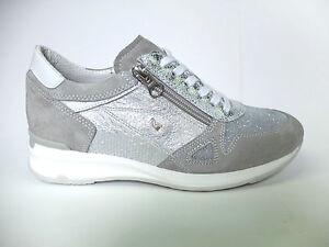 Nero Giardini 615094 sneakers grigio e argento in pelle e camoscio