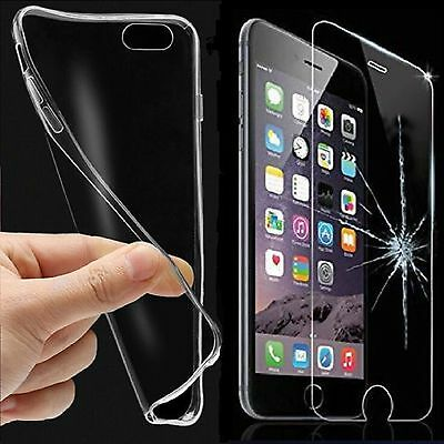Ultra Thin Clear TPU Gel Skin Case Cover & Tempered Glass Protector For Phones