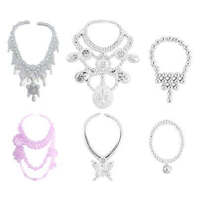 6pcs Fashion Plastic Chain Necklace For Barbie Doll Party Accessories GU