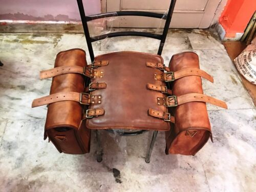 Motorcycle Saddlebags 2 Side Brown Leather Side Pouch Saddle Panniers