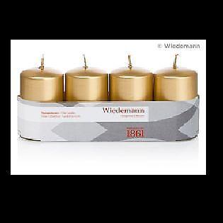 Kerze Stumpen 4er Packung Gold lackiert 80x50mm