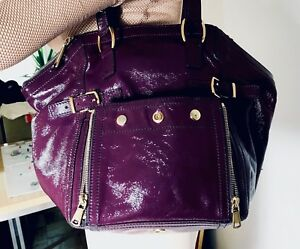 4804320a77 Image is loading YSL-SAINT-LAURENT-DOWNTOWN-MULBERRYGrained-Patent-Bag-RARE