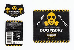 Staročeško Doomsday Lager Beer Label; 0,33 lit Daruvar Brewery, Croatia