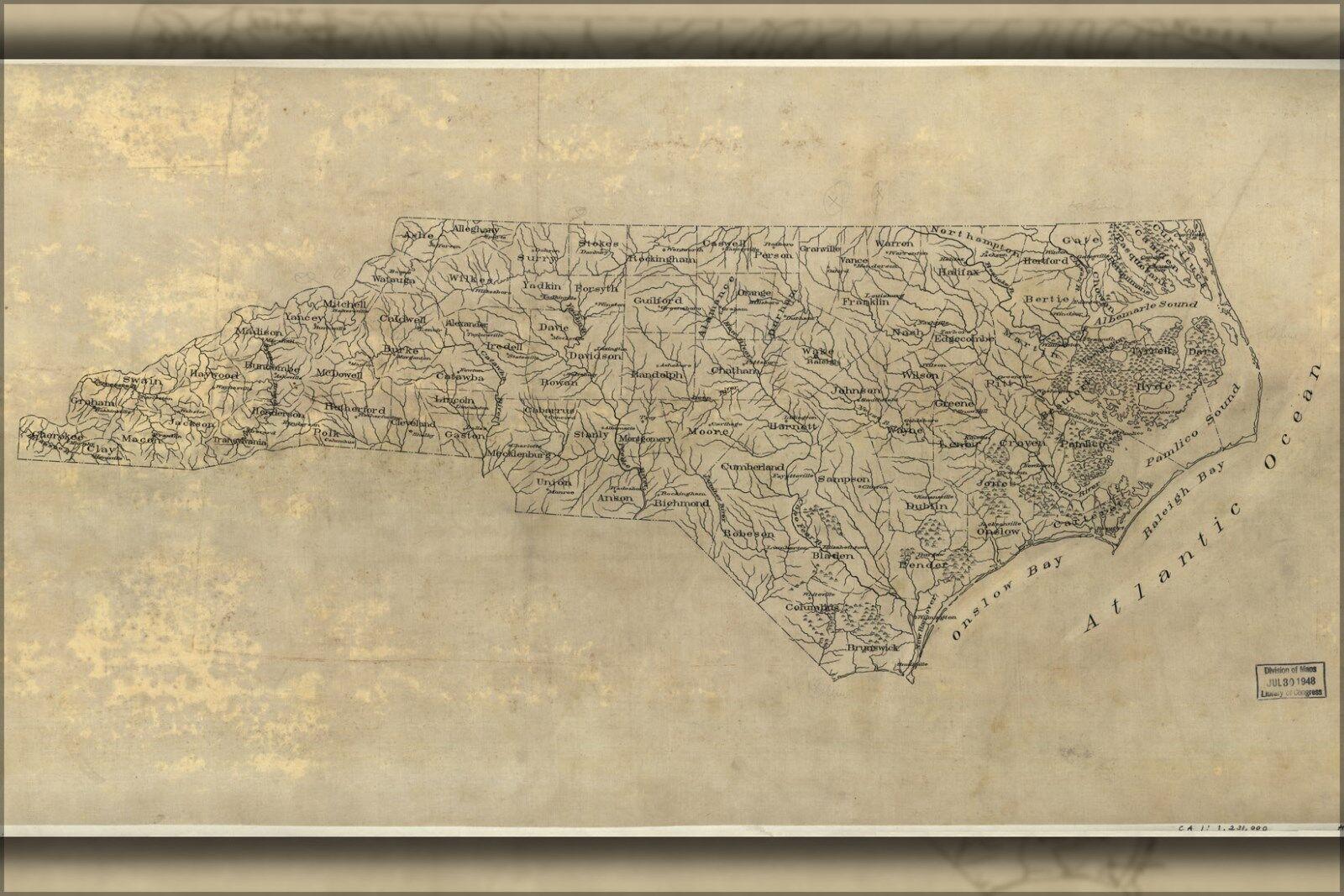Plakat, Viele Größen; Karte von Nord Carolina 1893