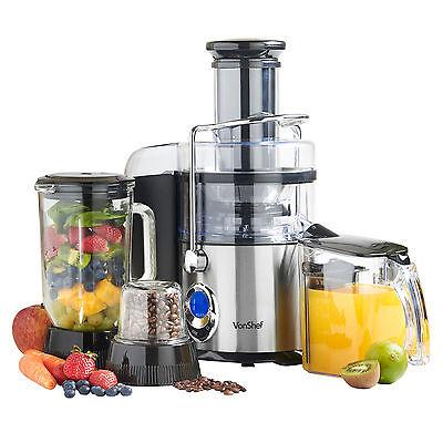 VonShef 3 in 1 Digital Whole Fruit Vegetable Power Juicer Blender Grinder