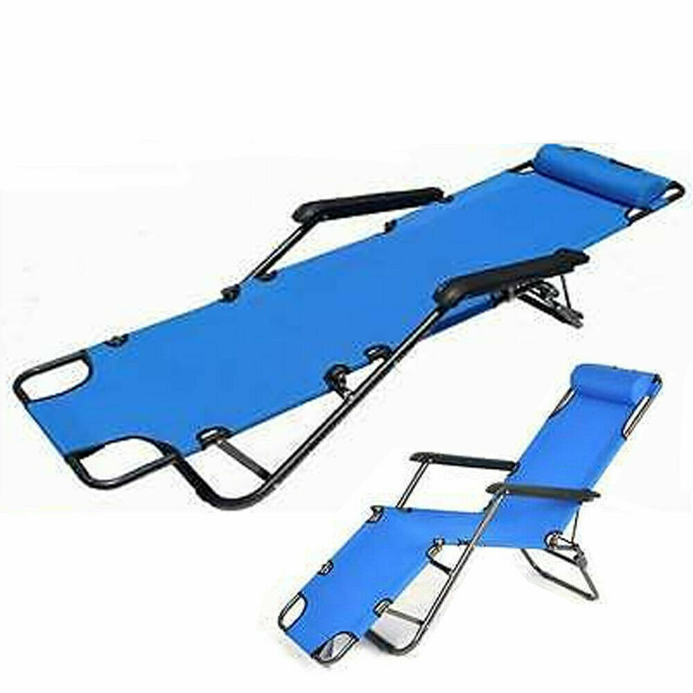 Folding Reclining Beach Sun Patio Chaise Lounge Chair Outdoor Pool Lawn Lounger