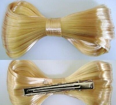 "1pc Costume Cocktail Party Lady Gaga Design Blonde Hair 4/"" Bow Clip//Wig A8-D6"