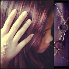 Gold Handcuff Finger Bracelet, Slave Bracelet. Edgy, trendy, celebrity inspired.