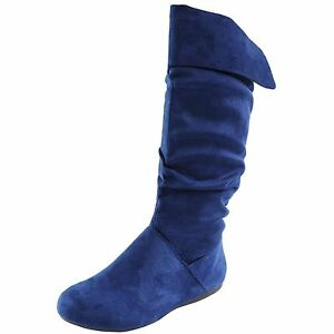 New women's shoes boots knee high suede like side zipper ...
