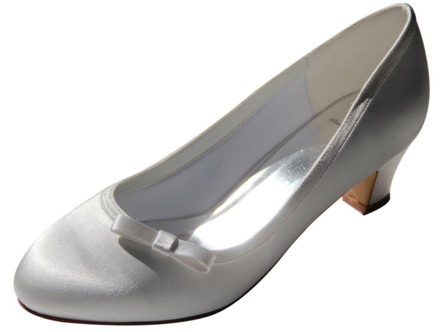 sconto online di vendita HBH SATIN scarpe da sposa, interno interno interno foderato, con fiocco, 5cm, paragrafo, colore  Ivory  presentando tutte le ultime tendenze della moda