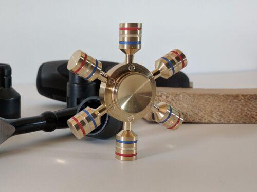 Hexagon Levers Configurable Bar Brass Hand Spinner Fidget Toy with Brass End Cap
