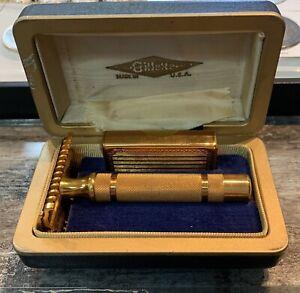 Gillette-Gold-Tech-Safety-Razor-In-Original-Box-W-Case-USA-Unused-VTG