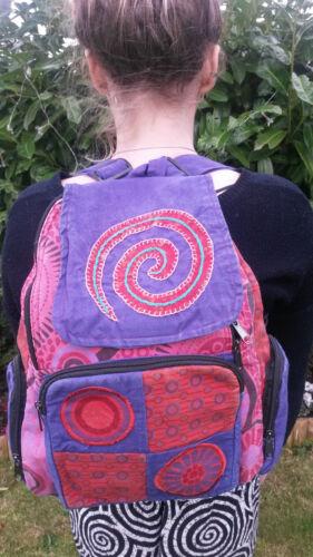 Hippy a patchwork Zaino in lavato cotone a Bohemian spirale pre Flower wzFd4Fnq
