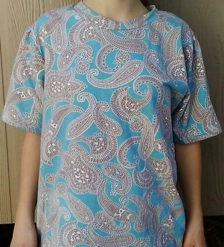Fabric yardage Cotton Knit spandex blue tan paisley floral by the yard