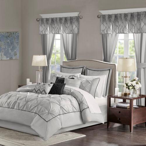 Luxurious Tufted Grey Faux Silk Comforter Curtain 24 pcs Set Cal King Queen