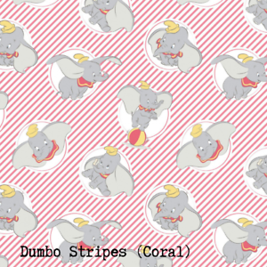 Disney Dumbo Stripes 100/% Cotton Fabric CORAL STRIPES **sold per fat quarter*