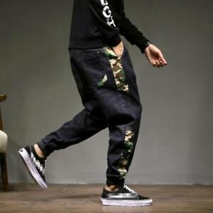 Hommes-039-s-Retro-Loose-Camo-Pantalon-Harem-Fit-Stretch-Jogger-Jeans-Hip-Hop-Pantalon-NOUVEAU