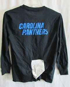 Carolina-Panthers-Youth-Black-Shirt-Graphic-on-Back-NFL-Size-YM-Flawed-A14