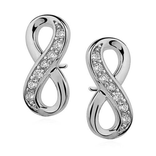 Unendlichkeit Infinity Zirkonia Ohrringe aus 925 Silber Ohrschmuck Ohrstecker