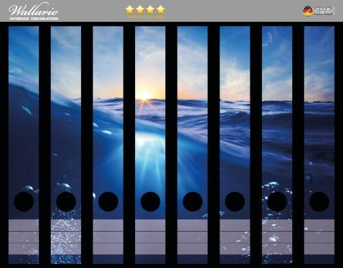 Wallario Ordnerrücken selbstklebend 8 schmale Ordner Wellen im Meer Sonne